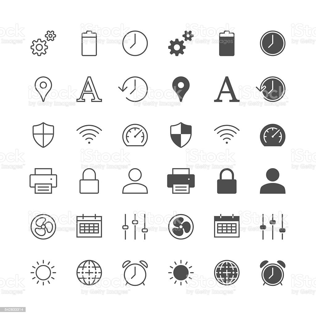 Setting icons, included normal and enable state. vector art illustration