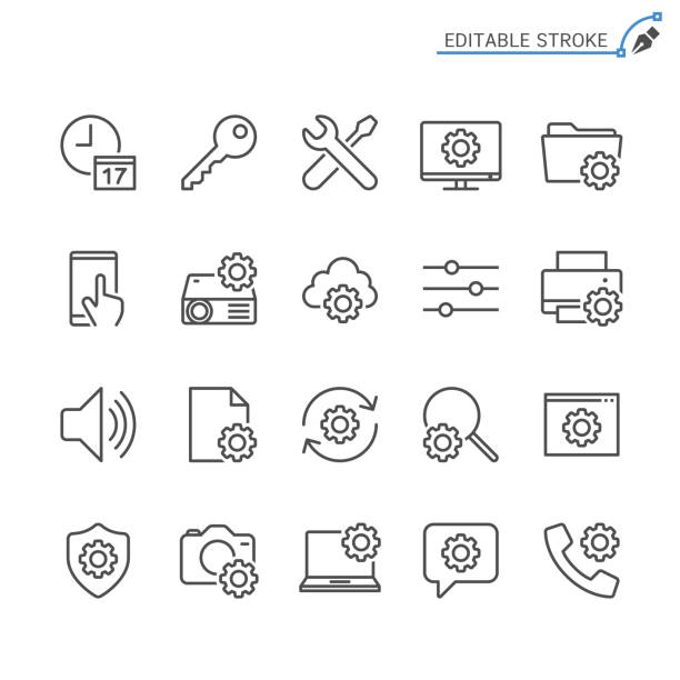 Setting line icons. Editable stroke. Pixel perfect. vector art illustration