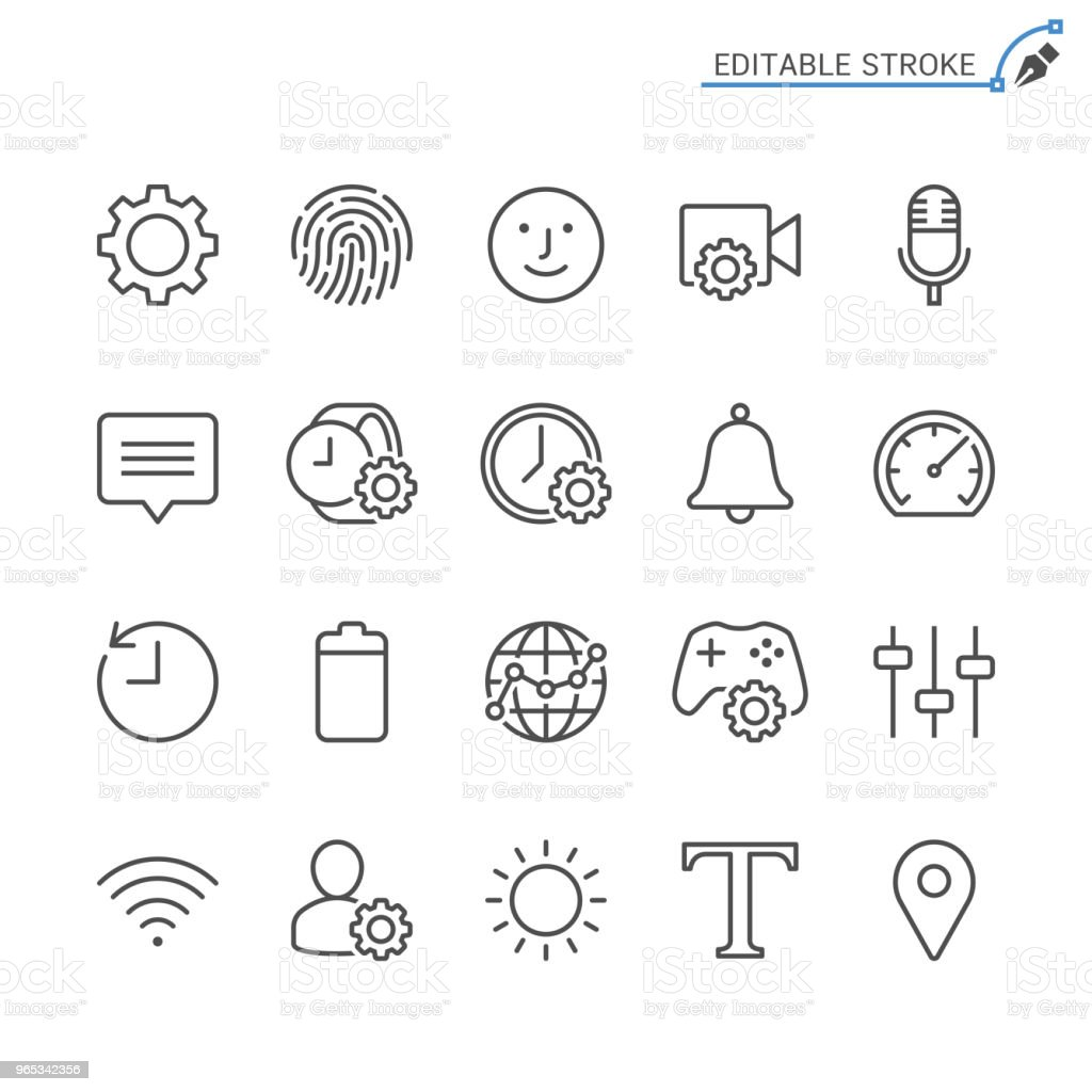 Setting line icons. Editable stroke. Pixel perfect. royalty-free setting line icons editable stroke pixel perfect stock vector art & more images of battery