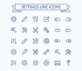 Setting  thin line mini icons set. 24x24 Grid. Pixel Perfect.Editable stroke.