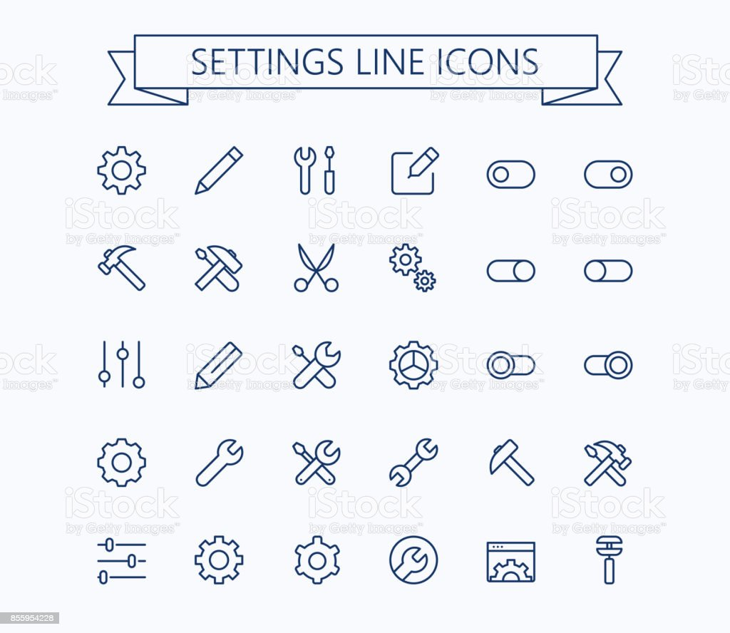 Setting  thin line mini icons set. 24x24 Grid. Pixel Perfect.Editable stroke. vector art illustration