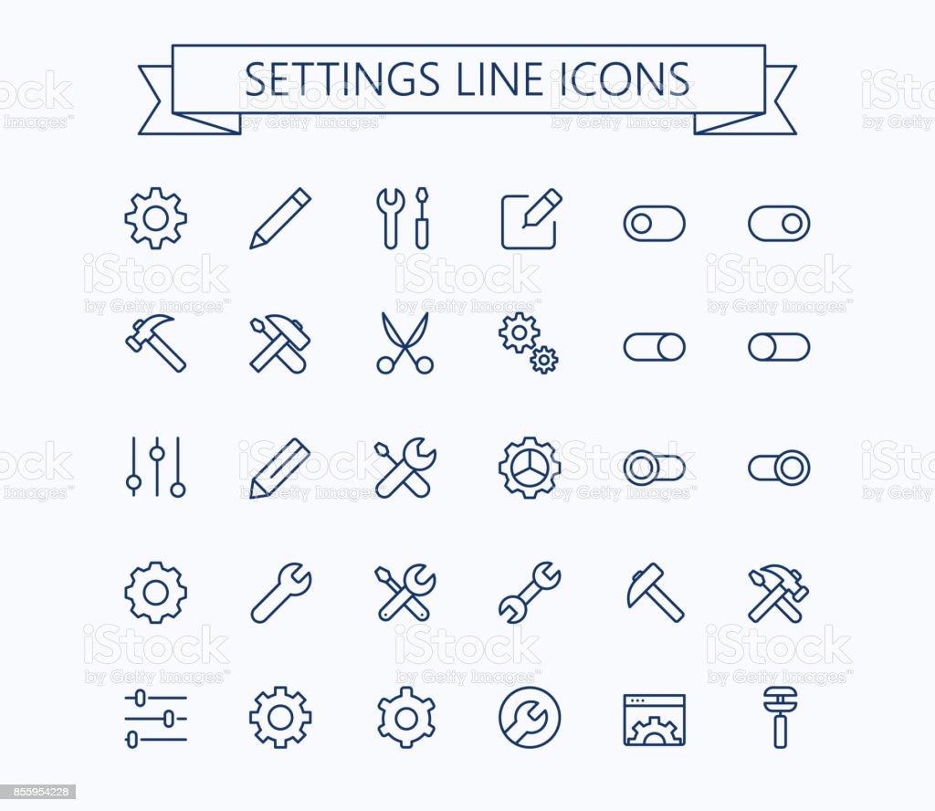 Setting  thin line mini icons set. 24x24 Grid. Pixel Perfect.Editable stroke. - illustrazione arte vettoriale