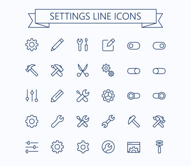 setting  thin line mini icons set. 24x24 grid. pixel perfect.editable stroke. - ołówek stock illustrations