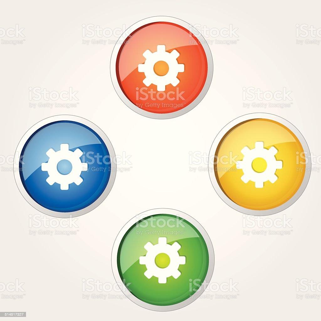 Settings Circular Vector Colorful Web Icon Set Button Stock