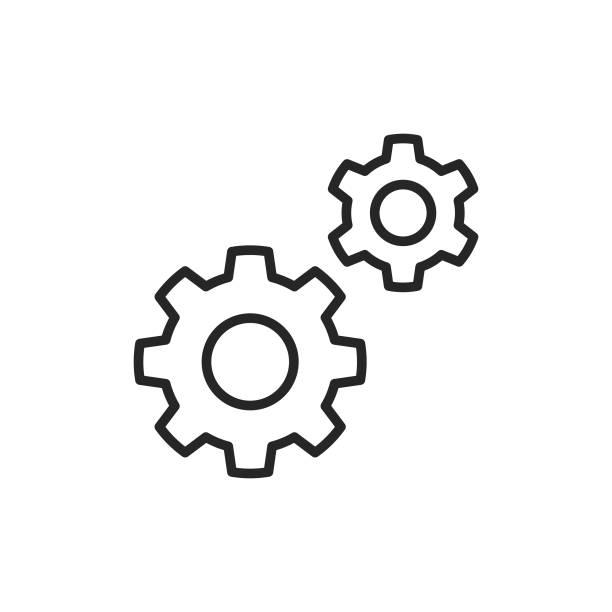 illustrazioni stock, clip art, cartoni animati e icone di tendenza di impostazioni, icona linea ingranaggio. tratto modificabile. pixel perfetto. per dispositivi mobili e web. - attrezzatura