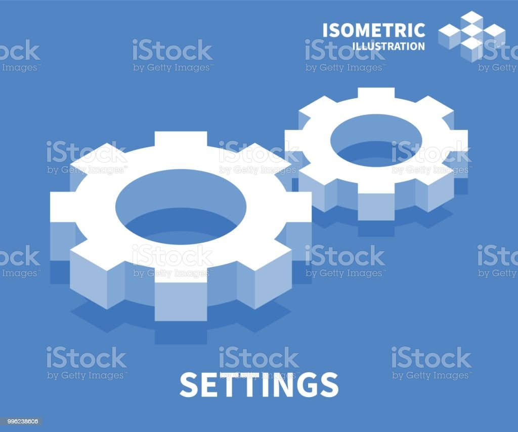 Settings icon. Isometric template for web design in flat 3D style. Vector illustration. royalty-free settings icon isometric template for web design in flat 3d style vector illustration stock illustration - download image now