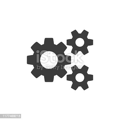 Settings icon. Simple flat style outline maintenance icon. Gear icon symbol