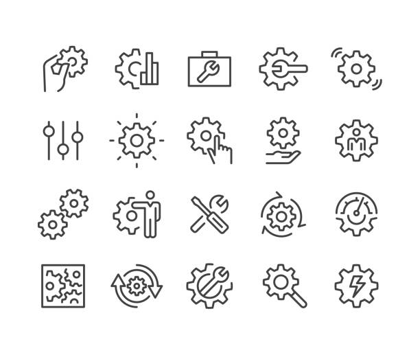 Settings Icons - Classic Line Series Settings, knob stock illustrations