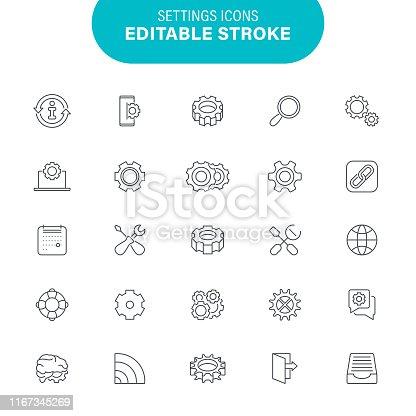 Outline, Work Tool, Gear, Option, Machine Part, Editable Icon Set