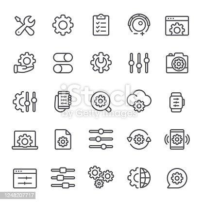 Settings, adjusting, gear, maintenance, icon, icon set, setup, data, options, knob