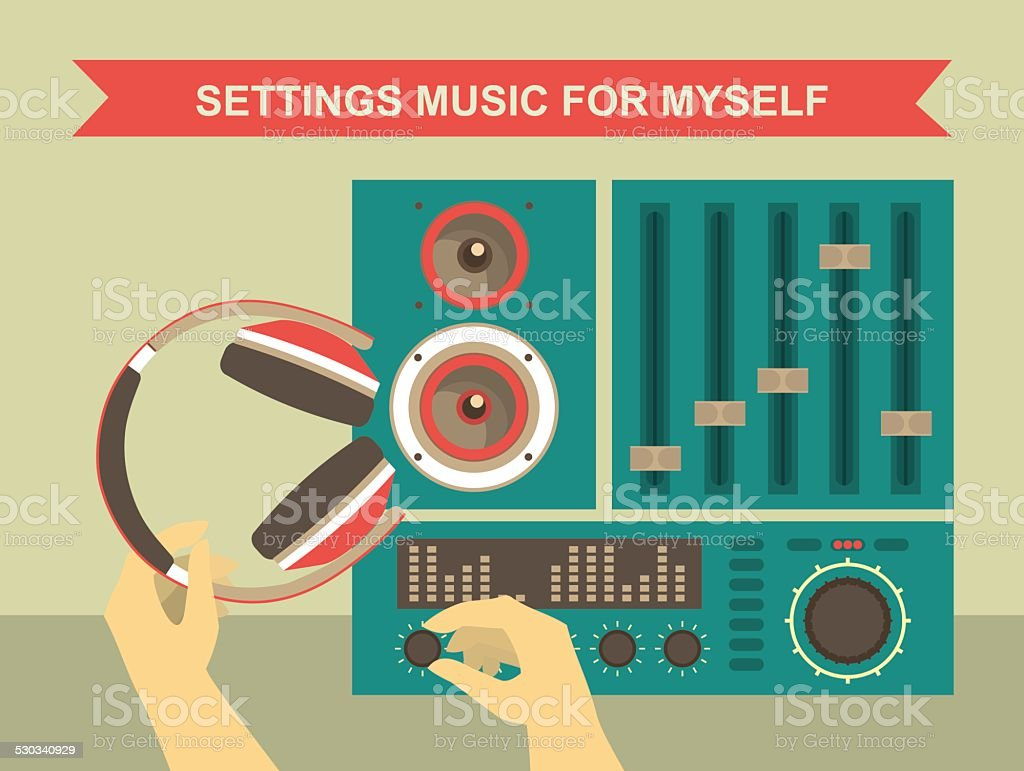 Settings Music For Myself vector art illustration
