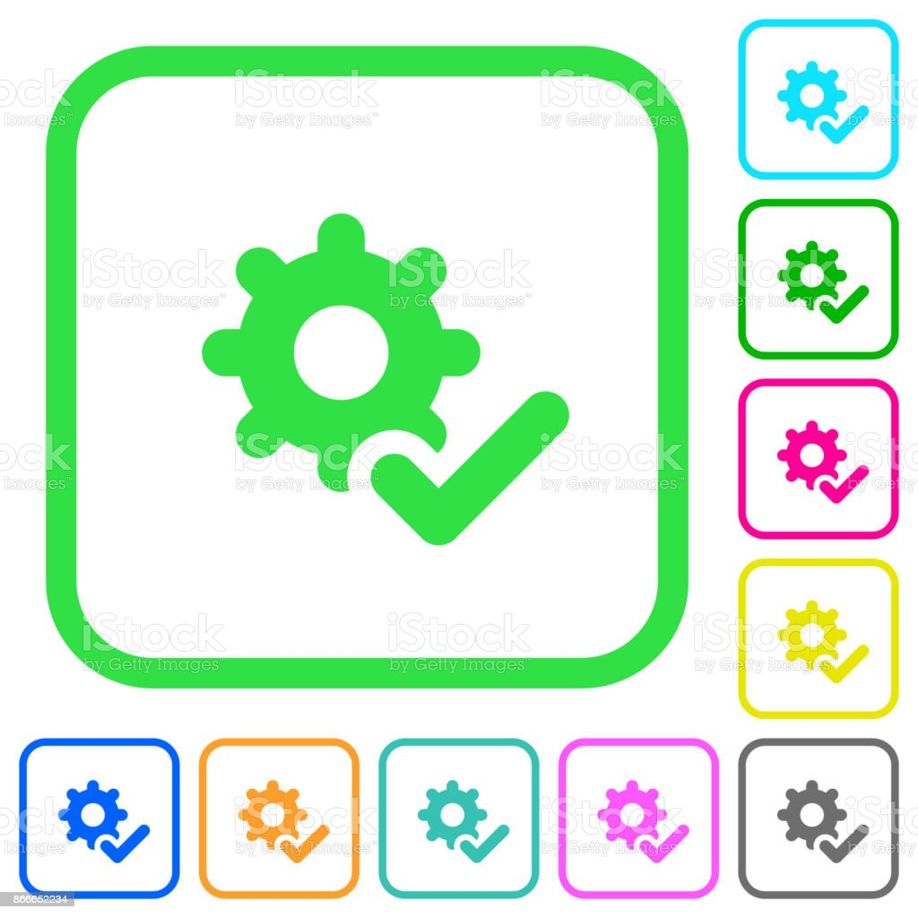 Settings ok vivid colored flat icons icons vector art illustration