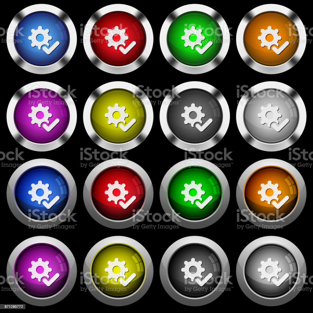 Settings ok white icons in round glossy buttons on black background vector art illustration