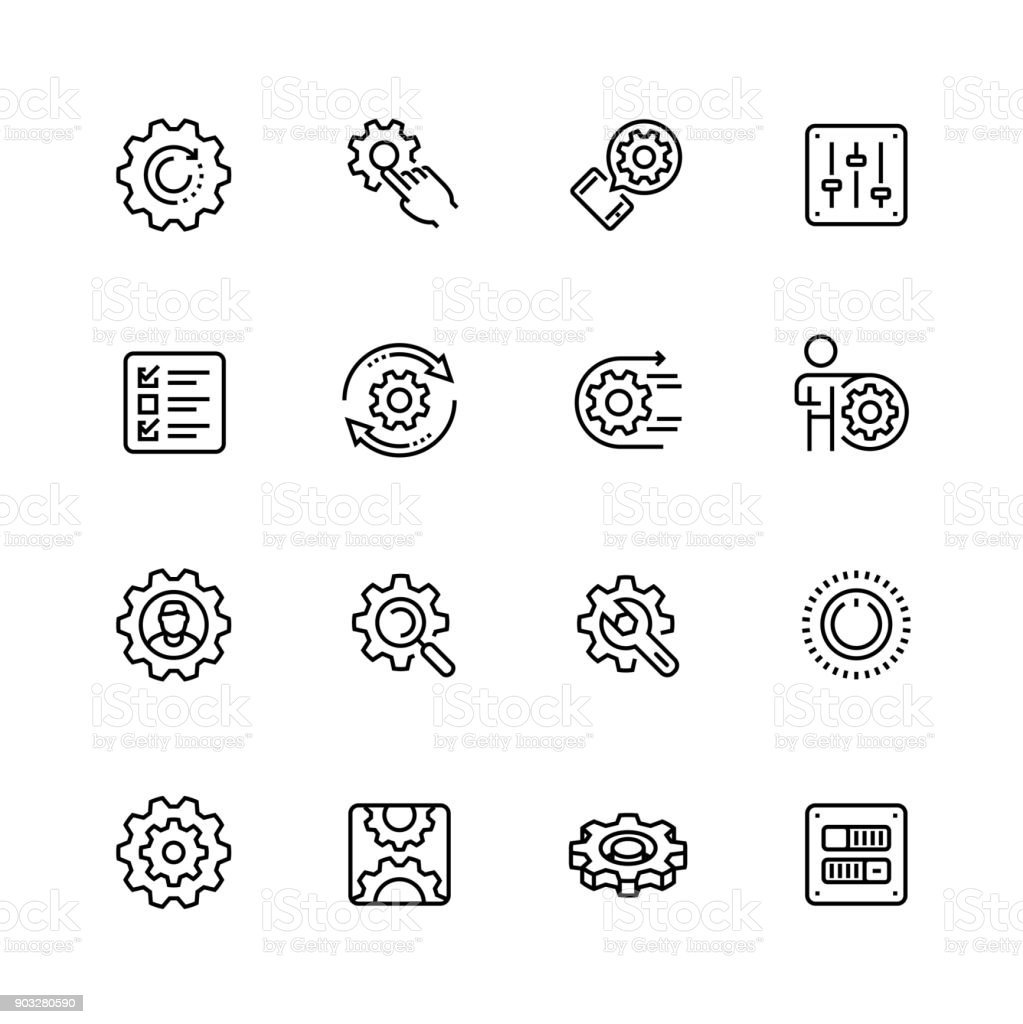 Settings or options related vector icon set in thin line style with editable stroke vector art illustration