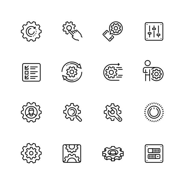 settings or options related vector icon set in thin line style with editable stroke - mechanic stock illustrations, clip art, cartoons, & icons