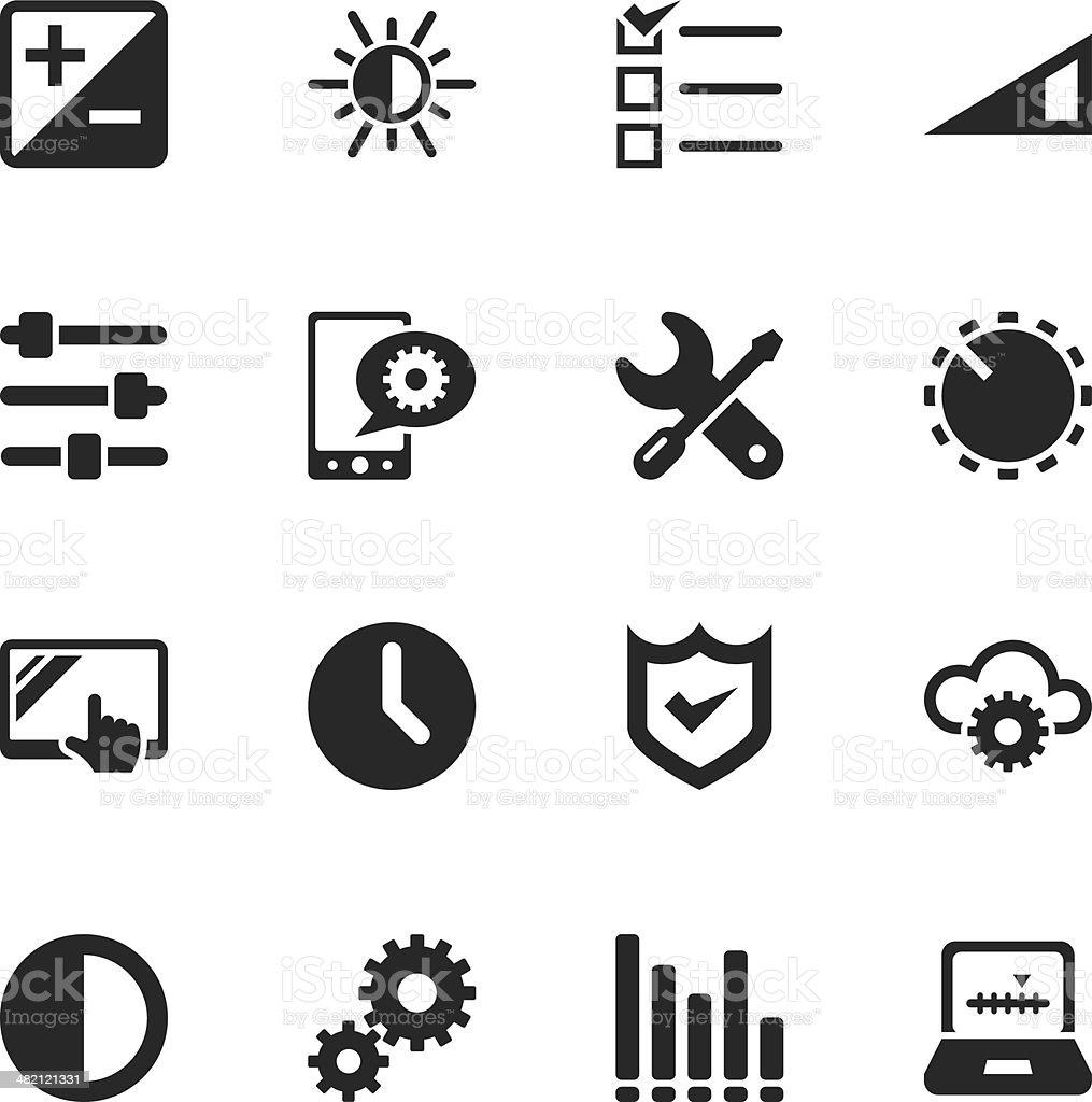 Settings Silhouette Icons vector art illustration