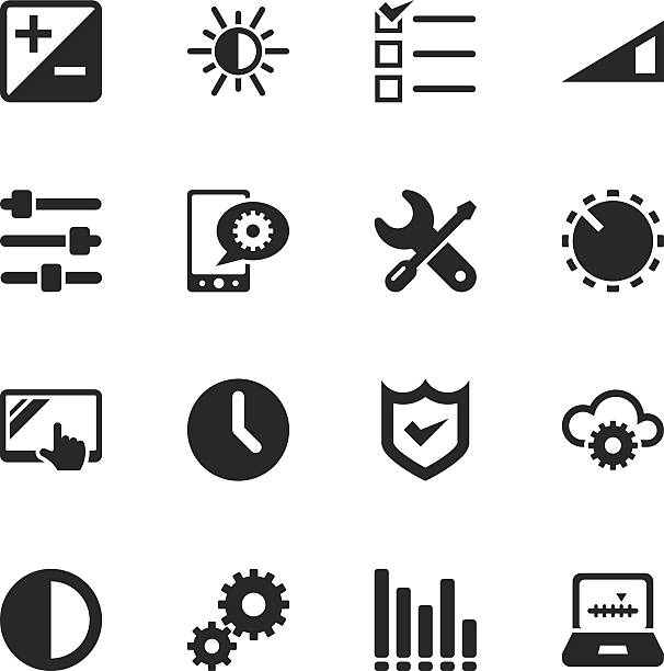 Settings Silhouette Icons Settings Silhouette Vector File Icons. knob stock illustrations