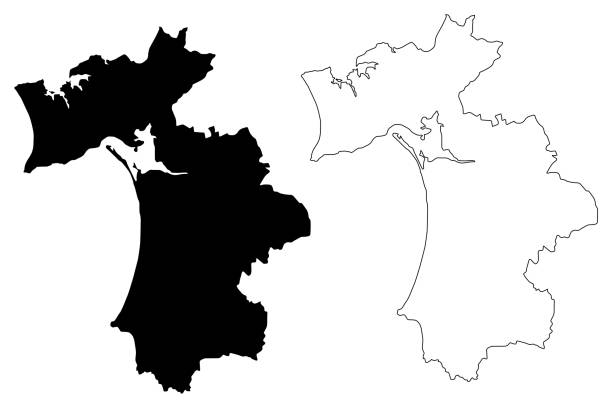 ilustrações de stock, clip art, desenhos animados e ícones de setubal district (portuguese republic, portugal) map vector illustration, scribble sketch setúbal map - setubal