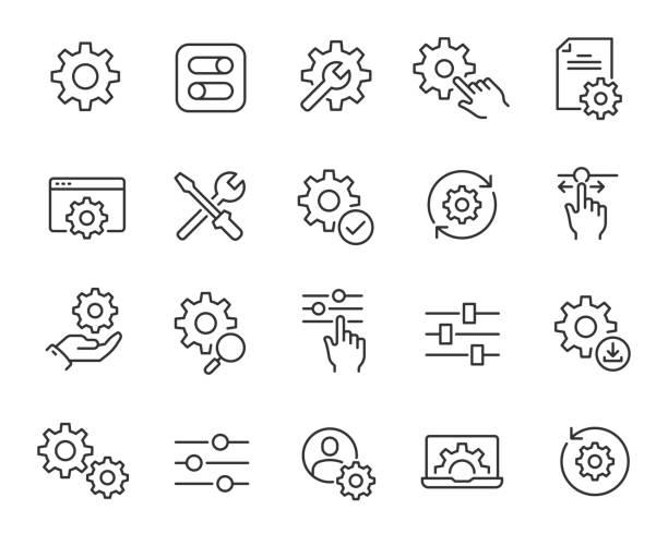 ustawienia i ustawienia ustawienia. kolekcja prostych liniowych ikon internetowych, takich jak instalacja, ustawienia, opcje, pobieranie, aktualizacja, gears i inne i inne. edytowalny obrys wektorowy - produkować stock illustrations