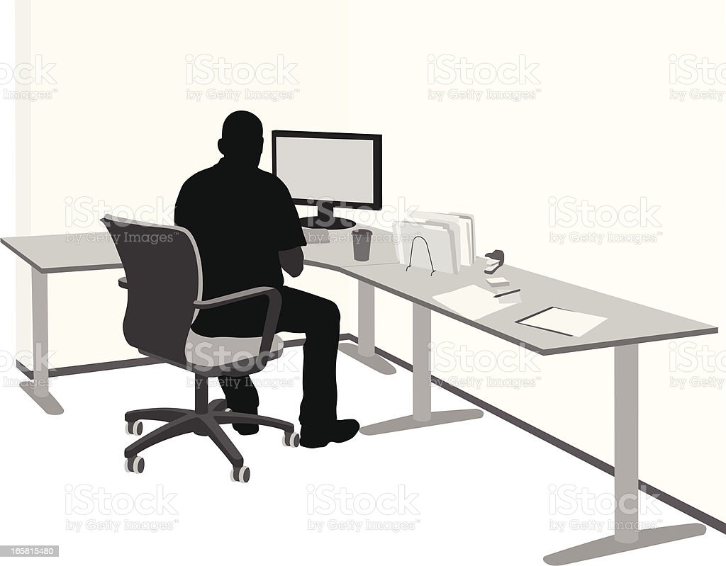 PC setup Vector Silhouette royalty-free pc setup vector silhouette stock vector art & more images of adult