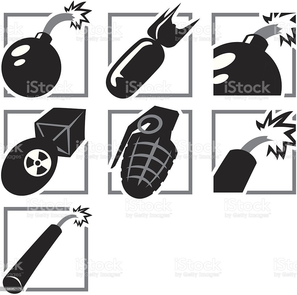 Seven black and white icons for explosives vector art illustration