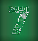 Seven Circuit Board on royalty free vector background. The electric circuit board is white and is set against a green background. Detailed illustration of the circuit board fill up the entire object and forms clean edges. Icon download includes vector art and jpg file.