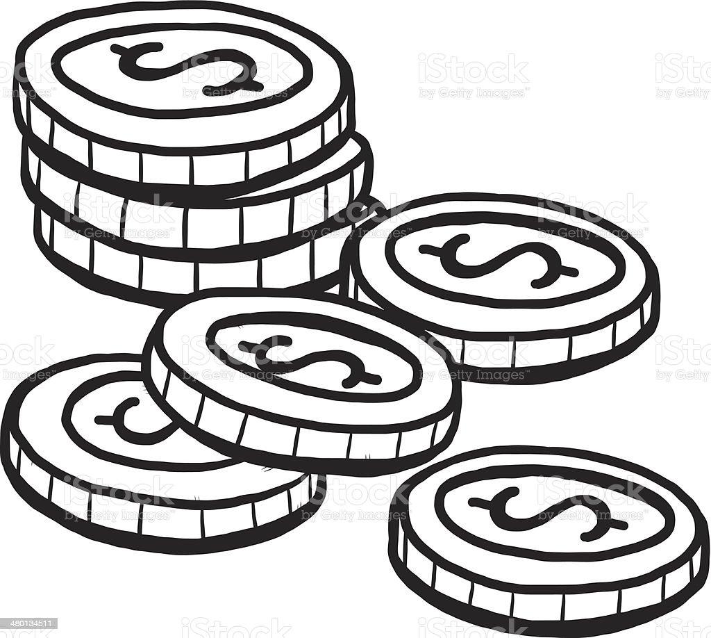 Seven Coins Cartoon Stock Illustration - Download Image