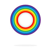 Seven colors rainbow circle. Red, orange, yellow, green, blue, indigo and violet. Illustration on white background. Vector