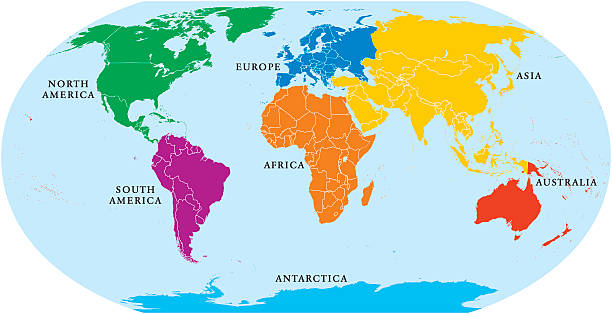 ilustraciones, imágenes clip art, dibujos animados e iconos de stock de todos los continentes mapa mundial - mapa de antártida