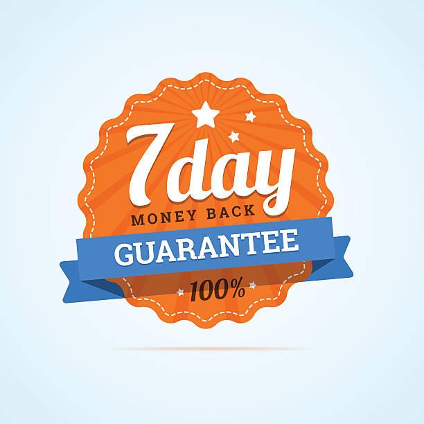 ilustrações, clipart, desenhos animados e ícones de dinheiro de volta garantia de sete dias crachá. - dia do cliente