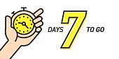 Seven Days Left Countdown Vector Illustration Template