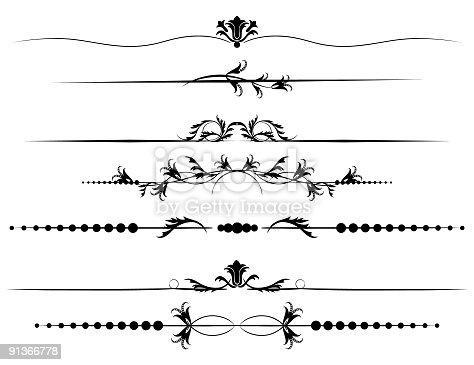 Seven Decorative Floral Ornate Page Border Divider Lines