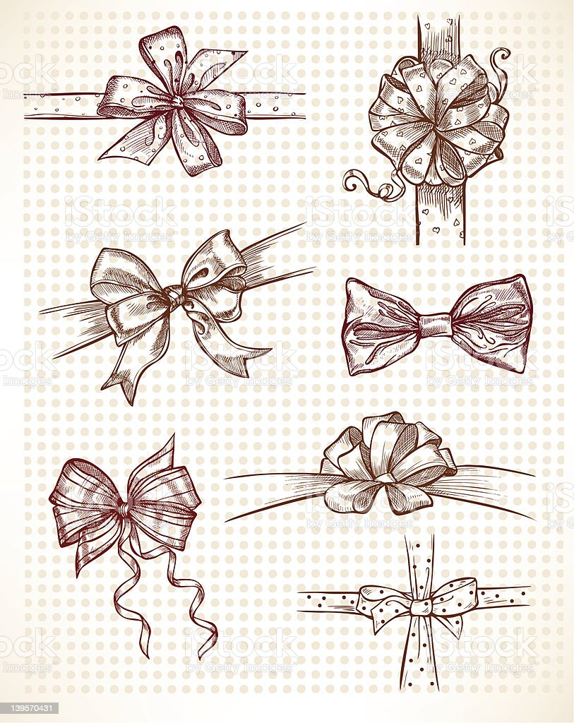 Seven drawings of different bows royalty-free stock vector art