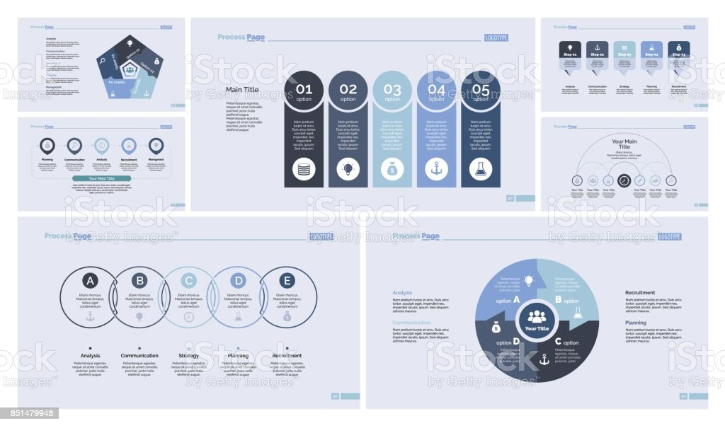 Seven Economics Slide Templates Set vector art illustration