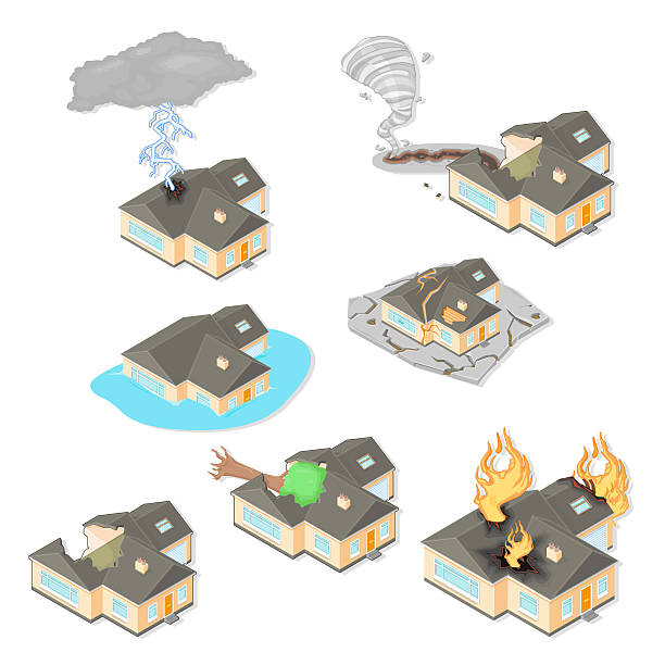 Seven icons of houses affected by natural disasters A set of vector illustration of Natural Home Disasters. forked lightning stock illustrations
