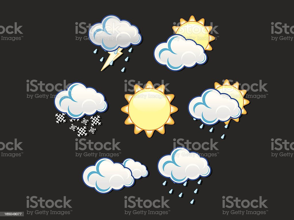 Seven icons representing various types of weather royalty-free stock vector art
