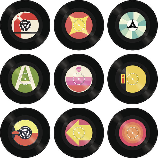 stockillustraties, clipart, cartoons en iconen met seven inch singles - vinylplaat