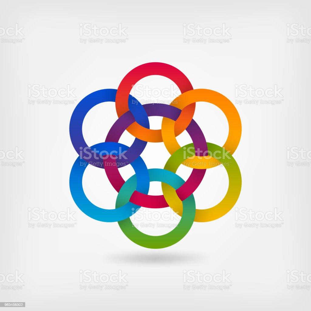 siete círculos entrelazados de colores del degradado arco iris - arte vectorial de Endentado libre de derechos