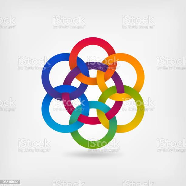 Ilustración de Siete Círculos Entrelazados De Colores Del Degradado Arco Iris y más Vectores Libres de Derechos de Endentado