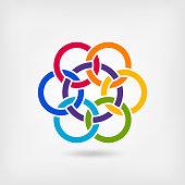 seven interlocked circles in rainbow colors. vector illustration - eps 10