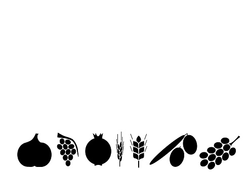 Seven kinds of fruit typical of the Land of Israel. Jewish custom to eat them at Tu Bishvat. Illustrated vector background