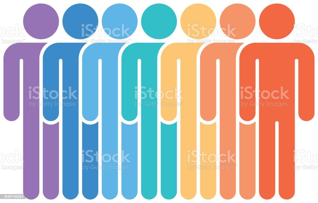 Seven Man Sign People Icon Flat Style vector art illustration