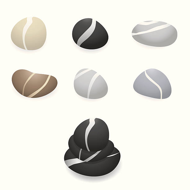 seven marbled pebble illustrations on a white background - pebbles stock illustrations, clip art, cartoons, & icons