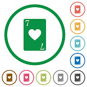 Seven of hearts card flat icons with outlines