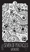 Minor Arcana Tarot card. Fantasy line art illustration. Engraved vector drawing. See all collection in my portfolio set