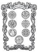 Seven of pentacles. Minor Arcana tarot card