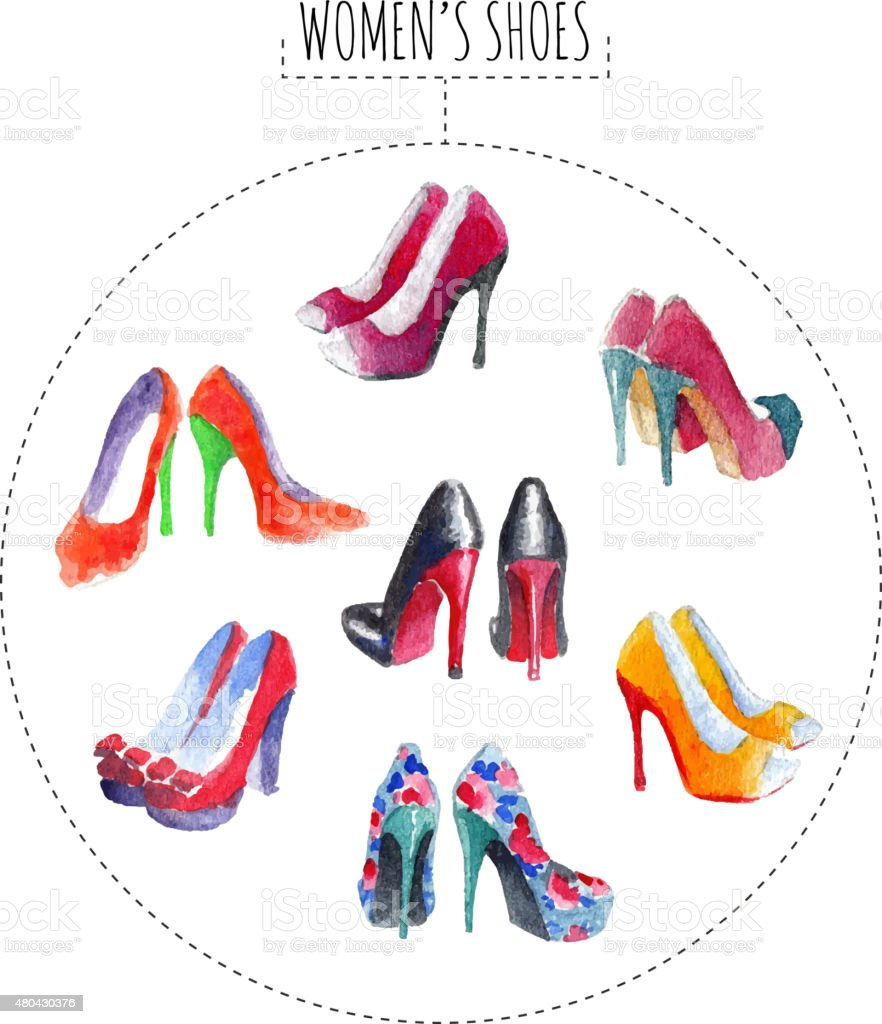 Seven pairs of womens shoes vector art illustration