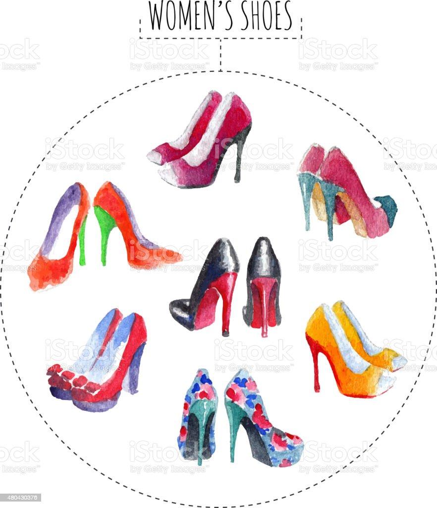 Sieben Paar Schuhe für Damen – Vektorgrafik