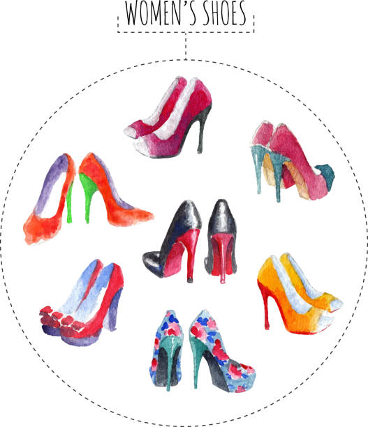 Sept paires de chaussures pour femme - Illustration vectorielle