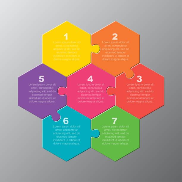 ilustrações de stock, clip art, desenhos animados e ícones de seven pieces puzzle jigsaw hexagonal info graphic - inteiro